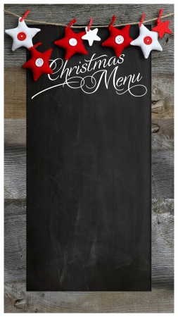 Special Christmas and New Year s restaurant bistro menu design on vintage wooden blackboard with copy space photo