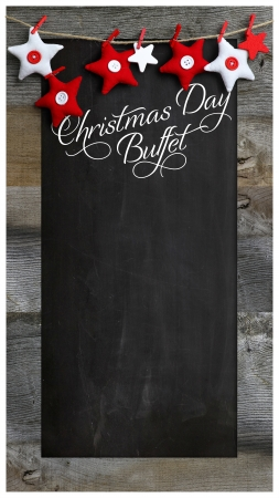 Special Christmas day buffet restaurant bistro menu design on vintage wooden blackboard with copy space Stock Photo