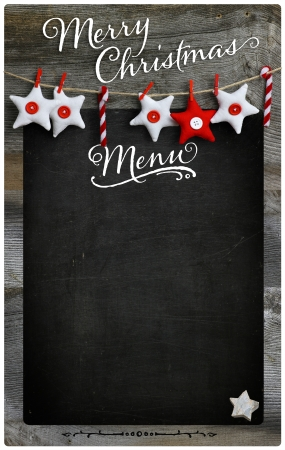 Special Merry Christmas and New Year s holiday restaurant bistro menu design on vintage wooden blackboard with copy space