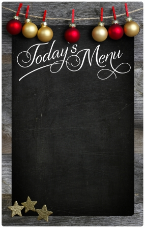 Special Christmas and New Year s holiday restaurant bistro menu design on vintage wooden blackboard with copy space photo