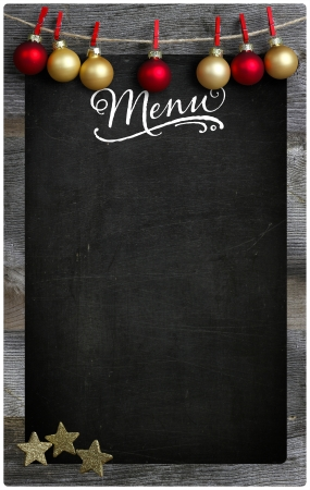 Special Merry Christmas and New Year s restaurant bistro menu design on vintage wooden blackboard with copy space photo
