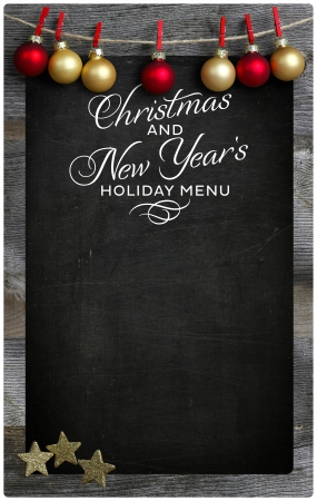 Special Christmas and New Year s holiday restaurant bistro menu design on vintage wooden blackboard with copy space Stock Photo