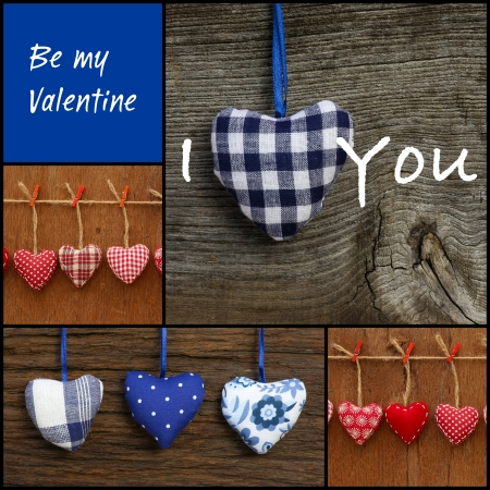 Set Collage Valentine s Love message with colorful fabric hearts photo