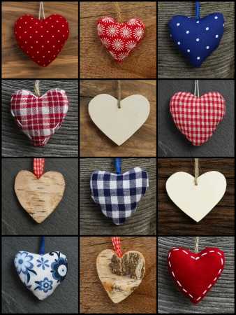 Set Collage Valentine s Love hearts on rustic backgrounds