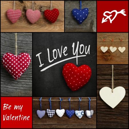 Set Collage Valentine s Love message with colorful fabric hearts