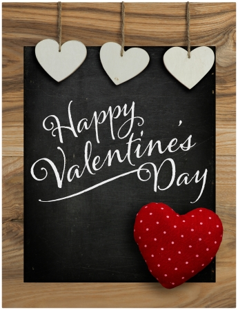 Happy Valentine s Day Chalkboard with Love message and Big red Heart