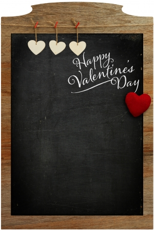 Happy Valentine s Day White Love hearts hanging on wooden texture background Stock Photo