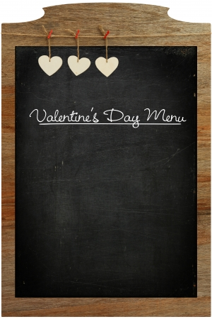Valentine s Day Menu Chalkboard White Love hearts hanging on wooden texture background photo