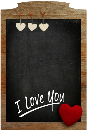 I Love You Chalkboard White hearts hanging on wooden frame with blackboard photo