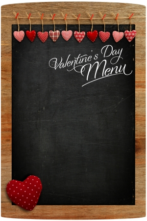 Valentine s Day Menu Chalkboard Fabric Love hearts hanging on wooden frame