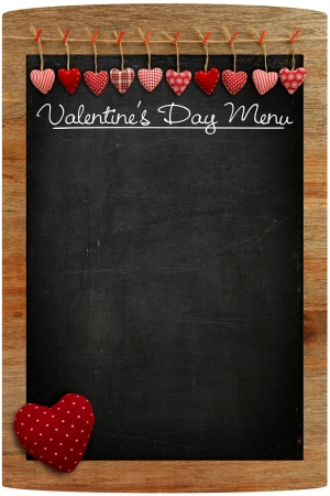 Valentine s Day Menu Chalkboard Fabric Love hearts hanging on wooden frame photo