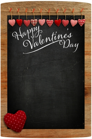 Happy Valentine s Day Chalkboard with Love message and red Heart in corner photo