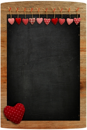 White Love Valentine s hearts hanging on wooden texture background Stock Photo