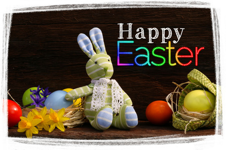 Happy easter message bunny toy with painted eggs in natural raffia nest daffodils on rough dark wooden background, copy space