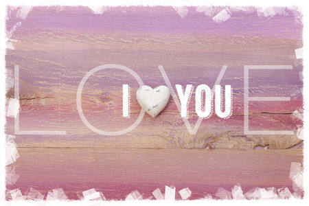 I Love You message for relationships, romance and valentines on painted wooden board Stock Photo