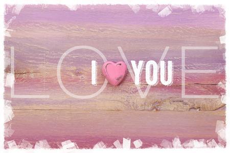 Ich liebe dich Nachricht f�r Beziehungen, Romanzen und Valentines auf lackierten Holzbrett Lizenzfreie Bilder