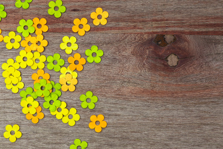 Random pattern love painted flowers Valentines day old vintage wooden table and copy space Stock Photo