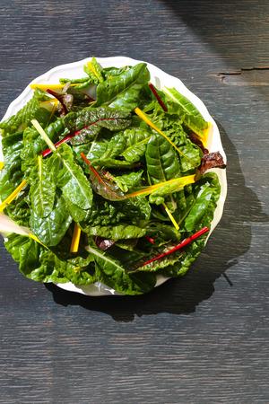 Rainbow swiss chard fresh washed leaves on white plate dark background