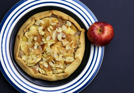 afternoon fancy cake: Apple galette crostata sweet cake pie on black and blue striped plate on dark background Stock Photo
