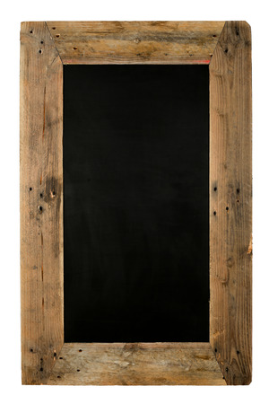 Chalkboard restaurant menu board reclaimed pallet wooden frame, isolated on white with copy space Stock Photo