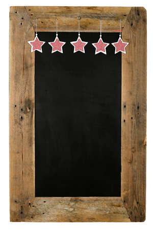 reclaimed: Chalkboard christmas restaurant menu board reclaimed pallet wooden frame and shabby chic gingham stars, isolated on white with copy space