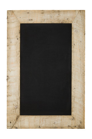reclaimed: Vintage chalkboard blackboard in reclaimed old wooden frame isolated on white with copy space Stock Photo