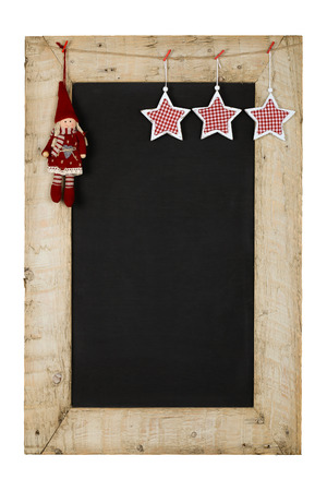 reclaimed: Merry Christmas and Happy New Years chalkboard blackboard stars and puppet decoration restaurant vintage menu design on painted reclaimed wooden frame isolated on white with copy space