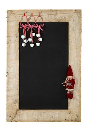 Frohe Weihnachten und Happy New Years Tafel Tafel Zinn Glocken und Puppen Dekoration Restaurant Vintage-Men�-Design auf lackierten aufgearbeiteten Holzrahmen isoliert auf wei� mit Kopie Raum