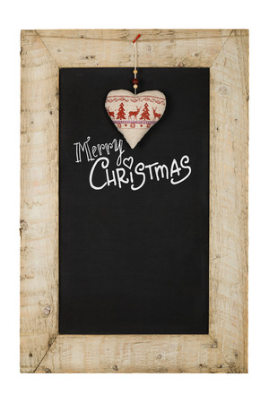 reclaimed: Merry Christmas and Happy New Years chalkboard blackboard heart decoration restaurant vintage menu design on painted reclaimed wooden frame isolated on white with copy space