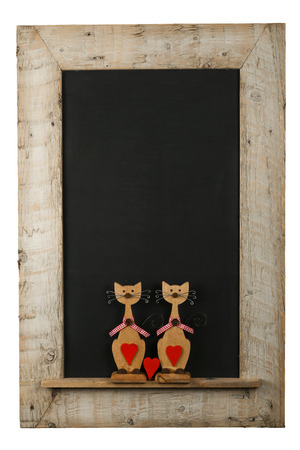 Reclaimed: Vintage valentines love cats with red hearts chalkboard blackboard in reclaimed old wooden frame isolated on white with copy space Stock Photo