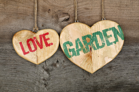 homecoming: Love Garden message wooden heart sign from recycled old palette on rough grey wooden background, copy space Stock Photo