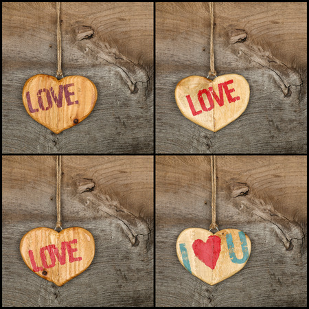 Set collage Valentines Love message wooden heart signs from recycled old palette on rough grey wooden background, copy space
