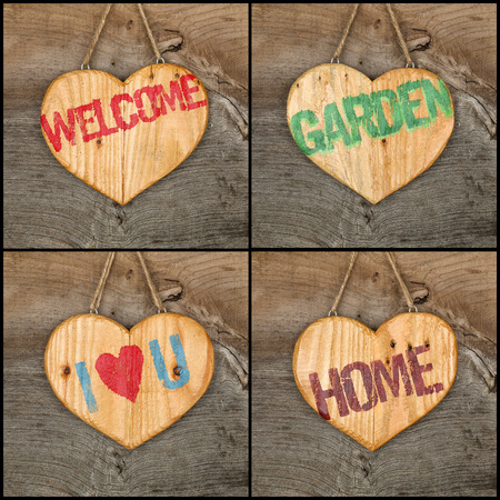 Set collage Welcome Love Garden Home message wooden heart signs from recycled old palette on rough grey wooden background, copy space photo
