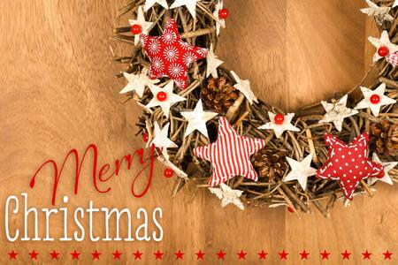 Shabby Chic Natale : Frohe weihnachten nachricht handgemachte wreathdekoration shabby
