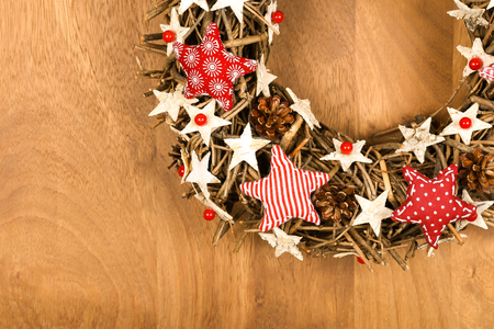gingham: Christmas handmade wreath decoration Shabby Chic white wooden stars with red gingham fabric pattern over wooden background - retro style design, copy space Stock Photo