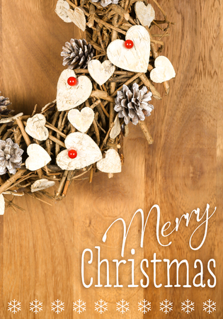 merry christmas message handmade wreath decoration shabby chic white wooden hearts with red berries over - Handmade Shabby Chic Christmas Decorations