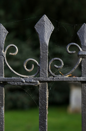 iron gate: Black metal spiked decorative wrought iron fence at Holywell Cemetery in Oxford, England. Stock Photo