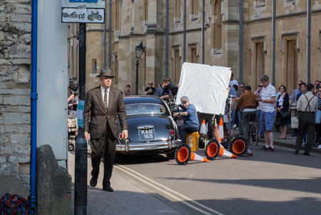 evans: Oxford, Oxfordshire, England, United Kingdom, 05th Jun, 2015, Filming of ITV drama Endeavour in Oxford with actors Shaun Evans and Roger Allam