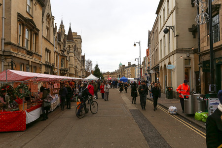 baileys: Broad Street, Oxford, UK, 27th November 2016: Oxfords Christmas Light Festival on Broad Street with performances, workshops, market stalls with seasonal food and drink. Editorial
