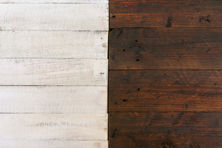 Vintage white and dark brown painted rough wood food blog props background Stock Photo