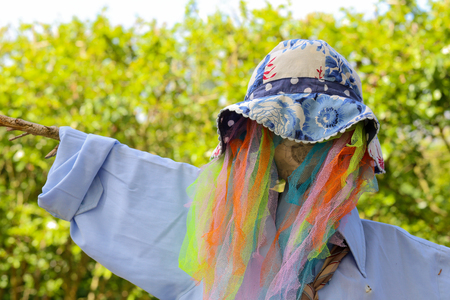 Funny colorful rainbow mesh scarecrow with pale blue shirt and hat on blurred sunny green background