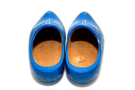 traditionally dutch: A pair of traditionally dutch wooden shoes Stock Photo