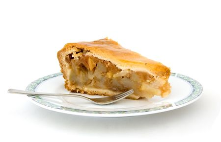 A piece of apple pie on a white background photo