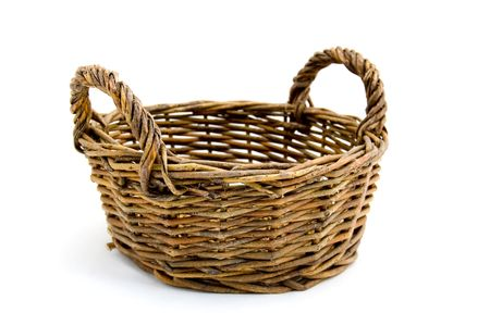 bread basket: An empty basket on a white background
