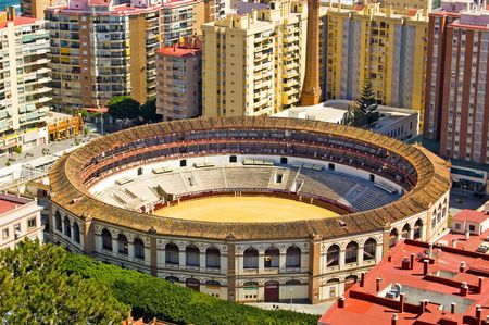 malaga: Bullring in the centre of Malaga, Andalusia, Spain  Stock Photo