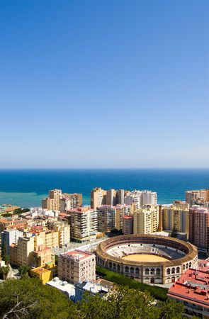 malaga: View on Malaga city and the sea in Andalusia, Spain
