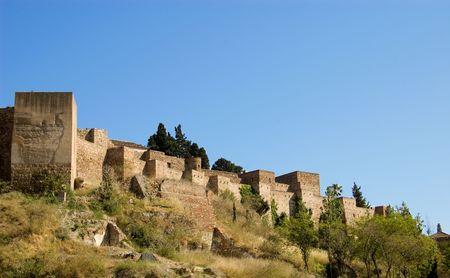 malaga: Part of the Alcazaba castle in Malaga, Spain