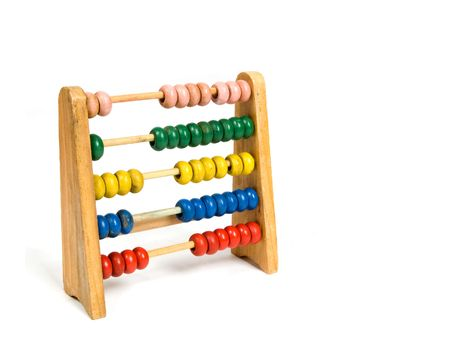 A wooden abacus isolated on a white background  photo