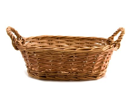 fruits in a basket: An empty basket on a white background   Stock Photo