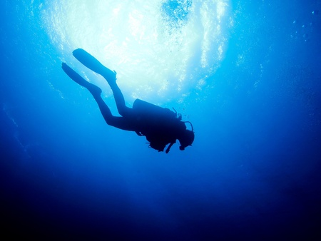 Silhouette of a diver photo